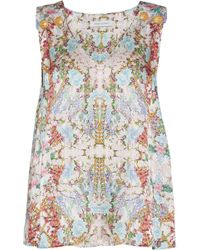 Balmain - Button-detailed Floral-print Hammered-silk Top - Lyst