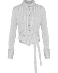 TOME - Belted Pinstriped Cotton-blend Poplin Shirt Light Gray - Lyst