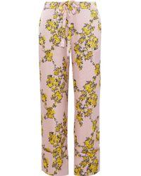 Baum und Pferdgarten - Niral Floral-print Hammered Silk-jacquard Wide-leg Trousers - Lyst