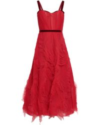 Marchesa notte - Woman Ruched Tulle Gown Red - Lyst