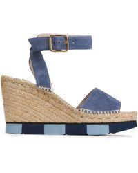 Paloma Barceló - Suede Wedge Platform Sandals Light Blue - Lyst