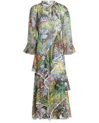 Peter Pilotto - Ruffled Printed Silk-georgette Midi Dress - Lyst