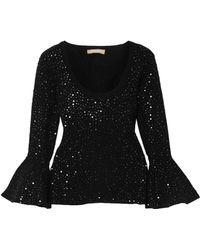 Michael Kors - Woman Embellished Stretch-knit Top Black - Lyst