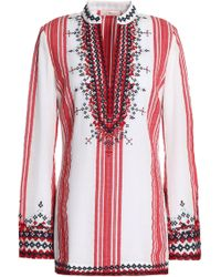 Tory Burch - Embroidered Striped Cotton-gauze Tunic - Lyst