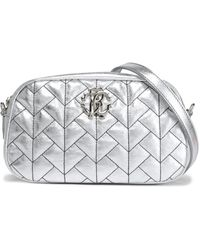 Roberto Cavalli - Woman Quilted Metallic Leather Shoulder Bag Silver - Lyst