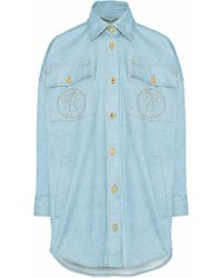 Moschino - Oversized Printed Denim Shirt - Lyst