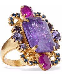 Elizabeth Cole - Kennedy Gold-tone Crystal Ring - Lyst