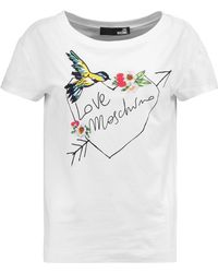Love Moschino | Embroidered Cotton-blend T-shirt | Lyst