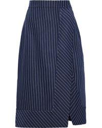 Altuzarra - Jude Wrap-effect Pinstriped Gabardine Skirt - Lyst