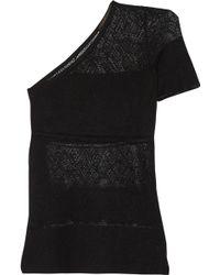 Agnona - One-shoulder Pointelle-knit Silk Top - Lyst