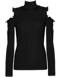 Nicholas Woman One-shoulder Ruffled Embroidered Tulle Top Black Size 8 Nicholas lV0PHXWm
