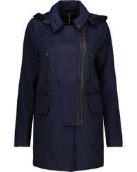 W118 by Walter Baker - Carol Faux Leather-trimmed Woven Hooded Coat - Lyst