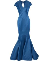 Zac Posen - Fluted Cutout Satin Gown - Lyst