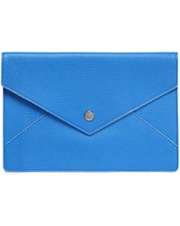 Dolce & Gabbana - Textured-leather Clutch Bright Blue - Lyst