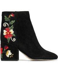 Sam Edelman - Embroidered Suede Ankle Boots - Lyst