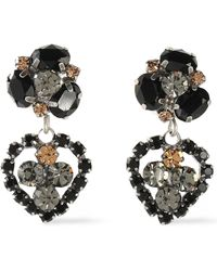 DANNIJO - Woman Oxidized Silver-tone Crystal Earrings Black - Lyst