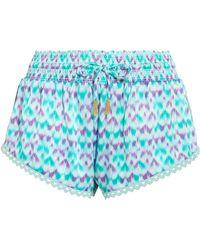 Paloma Blue - Paloma Crochet-trimmed Printed Silk-satin Shorts - Lyst