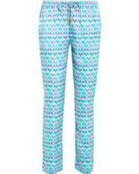 Paloma Blue - Venice Printed Silk-satin Slim-leg Trousers - Lyst