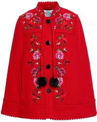 Kate Spade - Woman Scalloped Embroidered Wool-blend Cape Red Size S/m - Lyst