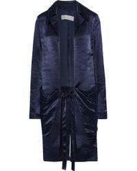 Victoria Beckham Tie-front Washed Satin-crepe Kimono Navy