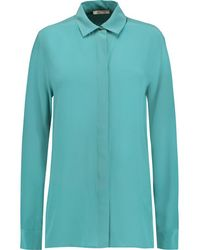 Maje - - Calypso Washed-silk Blouse - Teal - Lyst