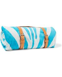 Maslin & Co - - Zebra-print Brushed-cotton Towel - Turquoise - Lyst