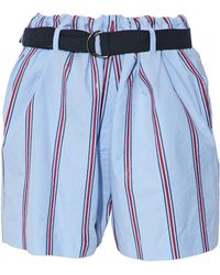 Brunello Cucinelli - Belted Sequin-embellished Striped Cotton-poplin Shorts - Lyst