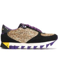 Dolce & Gabbana - Glittered Paneled Suede Sneakers - Lyst