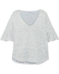 Splendid - Woman Striped Linen And Cotton-blend Jacquard T-shirt Off-white - Lyst