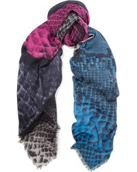 Christopher Kane - Snake-effect Modal And Cashmere-blend Scarf - Lyst