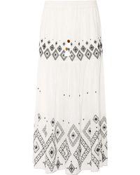 Rachel Zoe - Embroidered Silk And Cotton-blend Maxi Skirt - Lyst