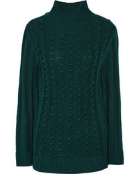Opening Ceremony - - Ribbed-knit Wool-blend Turtleneck Jumper - Emerald - Lyst