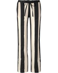 Marques'Almeida - Woman Striped Cotton And Silk-blend Gauze Trousers Black - Lyst