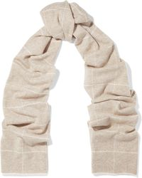 Madeleine Thompson - Woman Checked Wool And Cashmere-blend Scarf Cream - Lyst
