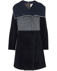 Ashley B - Zip-detailed Paneled Wool-blend Coat - Lyst
