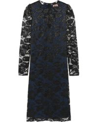 Lanvin | Metallic Floral-lace Dress | Lyst