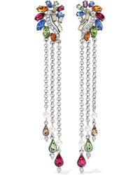 Ben-Amun - Woman Silver-tone, Swarovski Crystal And Faux Pearl Clip Earrings Silver - Lyst