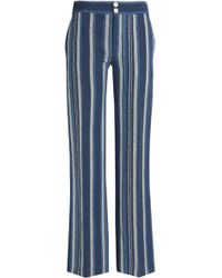 Chloé - Striped Cotton-blend Flared Trousers - Lyst