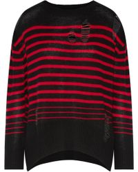 Enza Costa - Distressed Striped Wool And Cashmere-blend Sweater - Lyst
