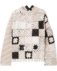 Altuzarra - Tasselled Leather-trimmed Crochet-knit Wool Jumper - Lyst