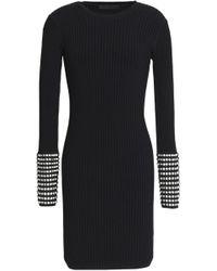 Alexander Wang - Crystal-embellished Ribbed-knit Mini Dress - Lyst