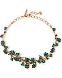 Oscar de la Renta - Gold-tone Crystal Necklace - Lyst