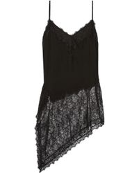 Haute Hippie - Asymmetric Silk And Lace Camisole - Lyst