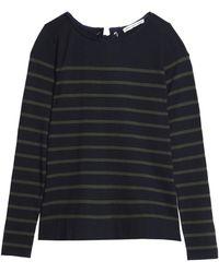 Autumn Cashmere - Lace-up Striped Cotton-blend Sweater - Lyst