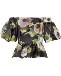 Marchesa Off-the-shoulder Floral-print Silk-moire Peplum Blouse Black
