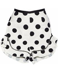 Nicholas - Ruffle-trimmed Printed Cotton And Linen-blend Shorts - Lyst