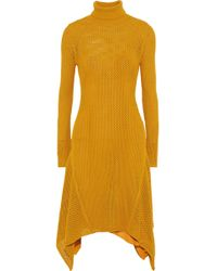 A.L.C. - Woman Open-knit Midi Turtleneck Dress Saffron - Lyst