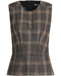 Vanessa Bruno - Checked Wool And Cotton-blend Peplum Top - Lyst
