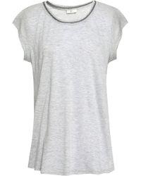 Joie - Damani Chain-trimmed Linen And Modal-blend Jersey T-shirt - Lyst