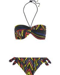 M Missoni - Printed Halterneck Bandeau Bikini - Lyst